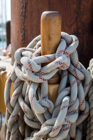 Ropes on an old sailing boat