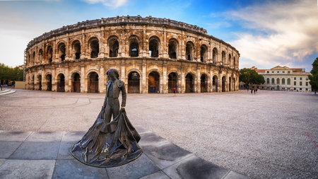 Evening view of Nîmes Arena - France Stock Photo