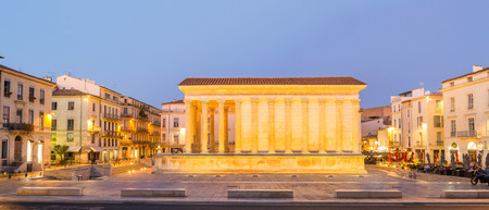 Panorama of Maison Carrée in Nimes - France