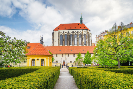 Franciscan Gardens in Prague at a sunny spring day 스톡 콘텐츠