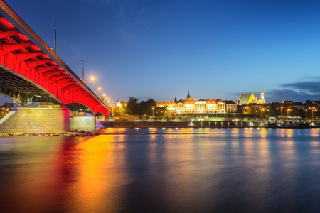 Warsaw Riverside and Royal Palace at Sunset - Poland Editorial