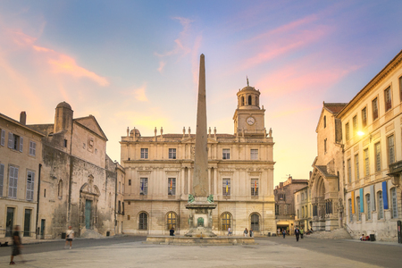 Arles Town Hall at Sunset, France