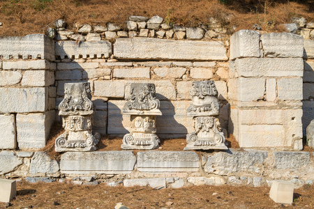 A bunch of old greek capitals, Ephesus - Turkey Stock Photo