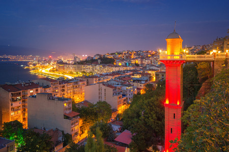 Night view of Izmir with Historical Elevator
