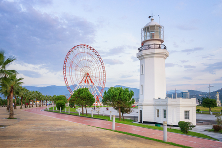 Lighthouse and Ferris Wheel in Batumi, Georgia Standard-Bild