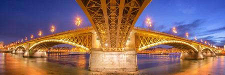 Panorama of the illuminated Margit Bridge, Budapest 写真素材