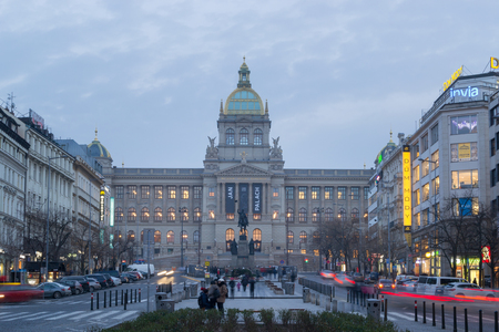 Prague, Czech Republic - January 23, 2019: National Museum and Wenceslas Square at night