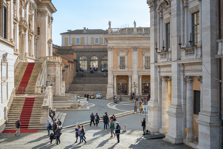 Rome, Italy - February 17, 2015: Campidoglio Hilltop square designed by Michelangelo Редакционное