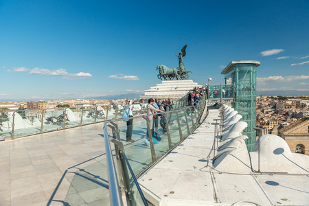 Rome, Italy - February 17, 2015: View from the Terrazza delle Quadrighe - roof terrace on top of the Vittoriano Museum Complex.