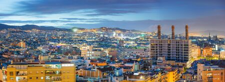 Panoramic View of Barcelona at Night Foto de archivo