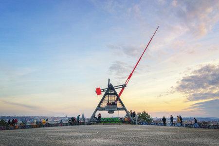 Prague, Czech Republic - January 30, 2019: Prague Metronome monument at sunset Editorial