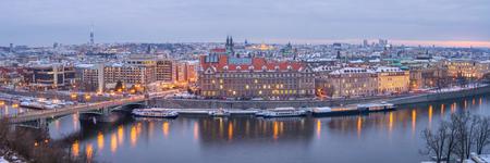 Panorama of Prague at a Winter Night