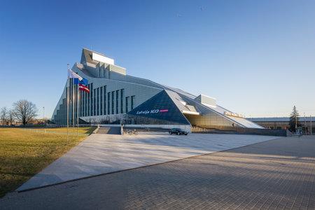 Riga, Latvia  -  April 11, 2018: The main building of the National Library of Latvia in Riga