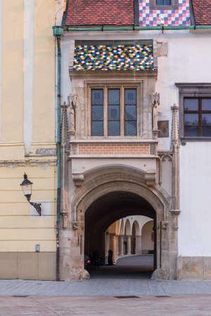 Entrance Gate to the Old Town Hall of Bratislava, Slovakia Foto de archivo