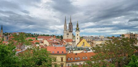 Panoramic View of Zagreb, Croatia Standard-Bild