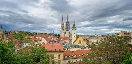 Panoramic View of Zagreb, Croatia Foto de archivo