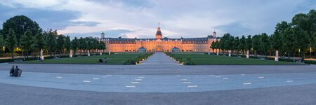 Karlsruhe, Germany - June 3, 2019: View of the Karlsruhe Palace early evening