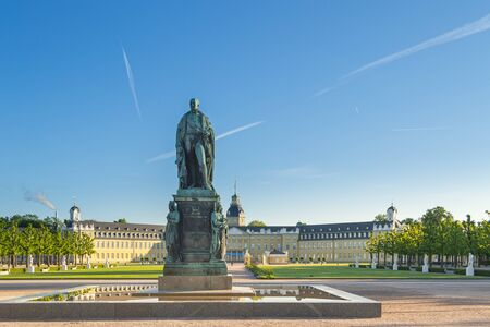Karlsruhe, Germany - May 3, 2019: View of the Karlsruhe Palace on a sunny summer morning, Germany Редакционное