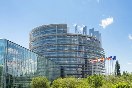 Strasbourg, France - June 13, 2019: View of the European Parliament at a sunny summer day Editorial