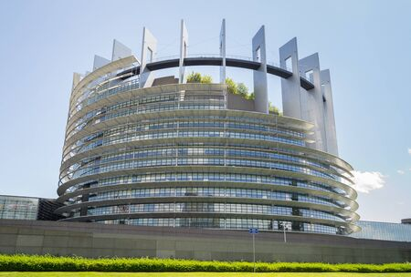Strasbourg, France - June 13, 2019: View of the European Parliament at a sunny summer day Редакционное