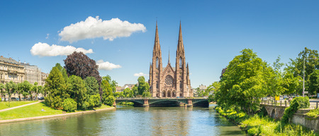 Cityscape of Strasbourg and the Reformed Church Saint Paul, France Editorial