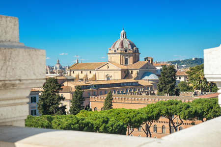 Cityscape of Rome, View from the Terrazza delle Quadrighe - roof terrace on top of the Vittoriano Museum Complex. Editorial