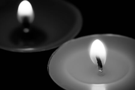 romantic candle light, close up in black and white photo