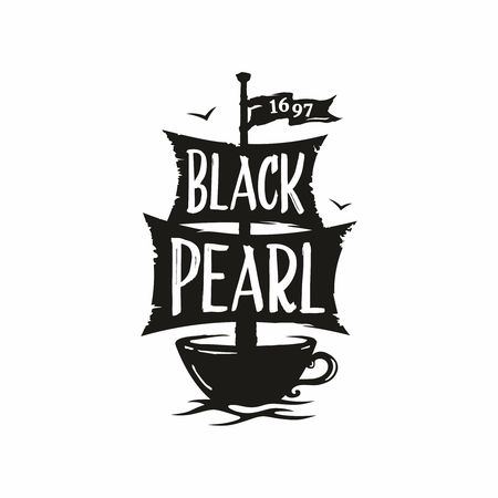 Modern vector professional sign logo cafe black pearl.
