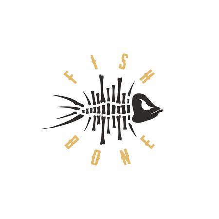 dead fish: Modern vector professional sign logo fish bone. Illustration