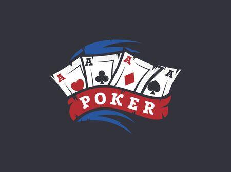 現代ベクトル プロのロゴ エンブレム ポーカー ゲーム。  イラスト・ベクター素材