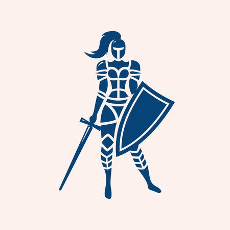 Modern vector emblem of female knight on light background. Vettoriali