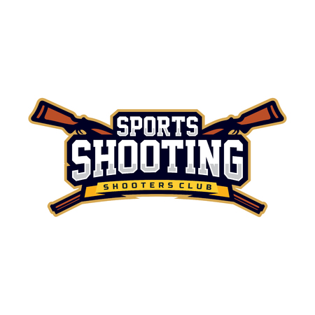 Modern vector emblem of sports shooting on white background.