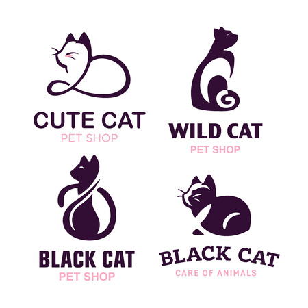Set van katten illustratie ontwerp op witte achtergrond.