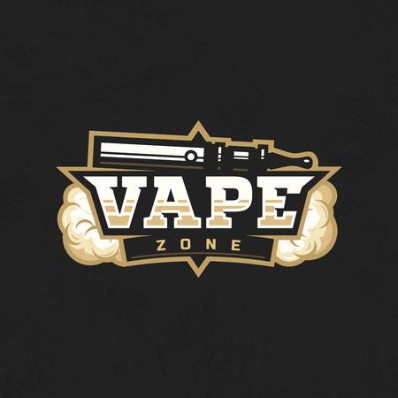 Modern vector professional emblem of vape zone. Çizim