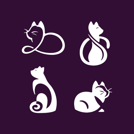 Set of cats illustration design on white background. Иллюстрация