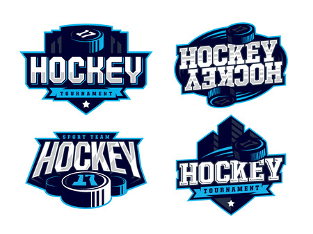 Modern professional hockey logo set for sport team. Vettoriali