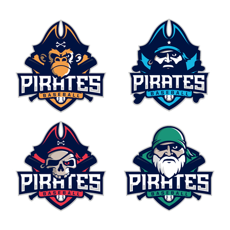 Modern professional set emblem pirates for baseball team.
