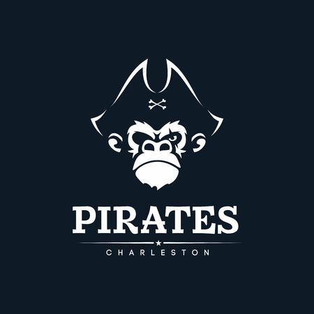 Piratenaffe des modernen Berufsemblems für Team des amerikanischen Fußballs. Vektorgrafik