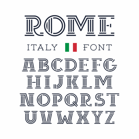 Italy font. Vector alphabet with Latin letters. Illustration