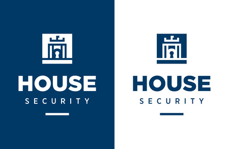 Modern professional vector logo house security in blue theme. Ilustrace