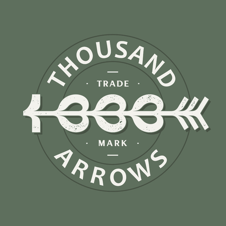 Modern professional vector emblem thousand arrows in green theme.