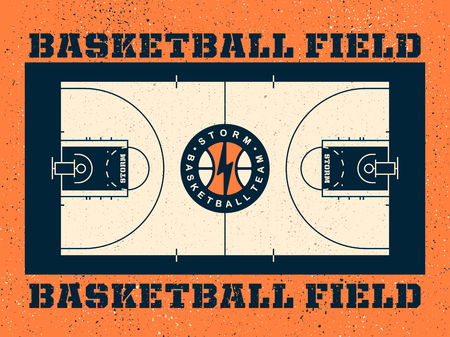 Modern professional vector field for basketball in orange theme.