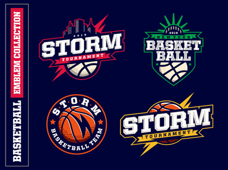 Modern professional basketball logo set for sport team.