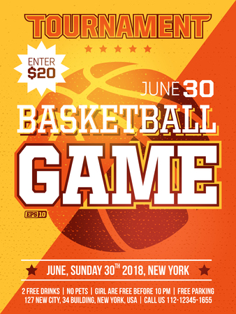 modern professional sports design poster with basketball tournament in orange theme Vector Illustration