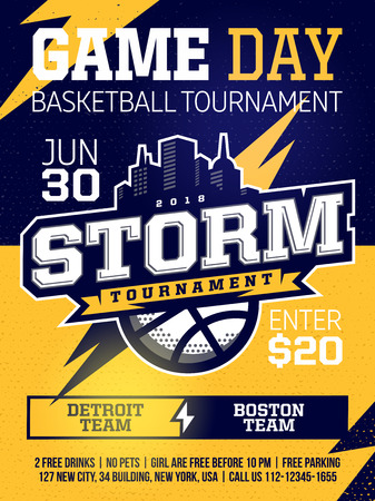 modern professional sports design poster with basketball tournament in yellow theme