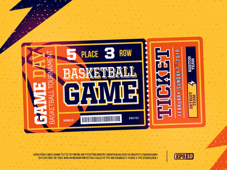 Modern professional design of basketball tickets in orange theme