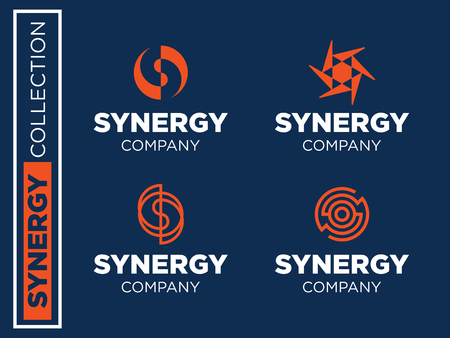Modern professional vector set logos synergy for business