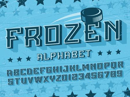 Modern professional vector 3d alphabet frozen. Custom typeface. Çizim