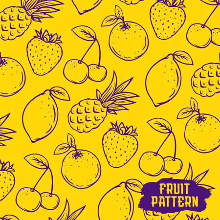 Modern professional vector set freshly made with real fruits. Fruit pattern.