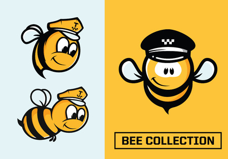 Modern professional  set emblems bee in yellow theme. Illustration
